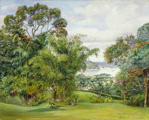 Marianne North - View of the River from the Rajah's Garden, Sarawak, Borneo