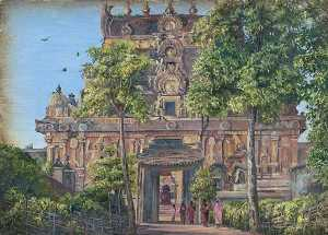 Marianne North - Gate of the Temple of Tanjore (Thanjavur) with the Great Bull Seen through Doorway, Tamil Nadu, India