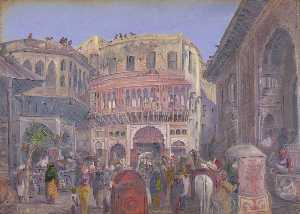 Marianne North - Street Scene, Mathura. '6th Decr. 1878'