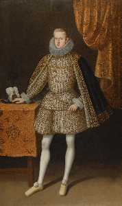 Rodrigo De Villandandro - Portrait of Philip IV of Spain (1605 1665), full length, standing beside a Table before a partly draped Curtain Portrait of Isabel de Borbón (1602 1644), full length, standing beside a Table before a partly draped Curtain