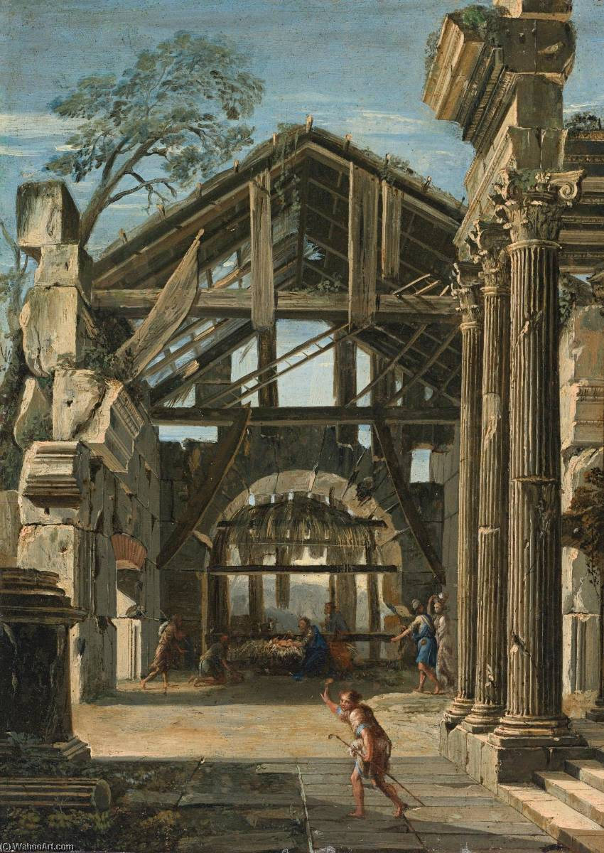 The Nativity in an ancient ruin by Viviano Codazzi (1604-1670, Italy) | Art Reproduction | WahooArt.com