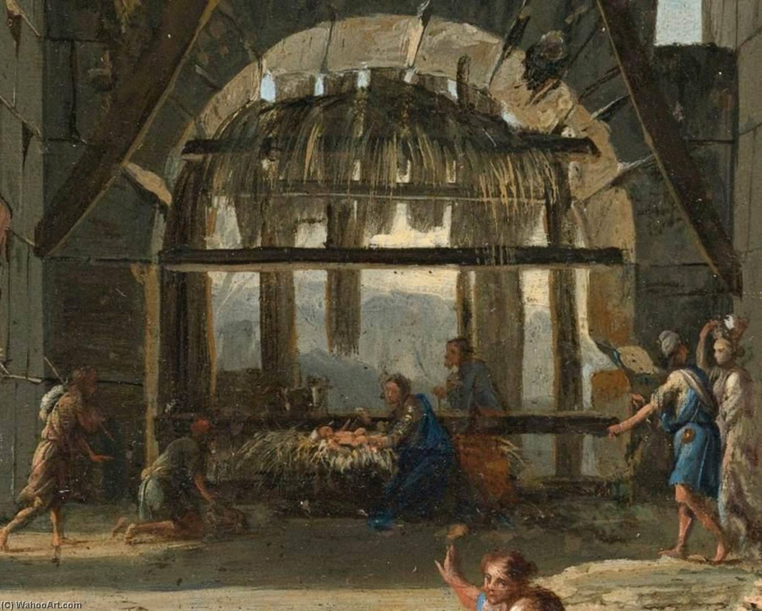 The Nativity in an Ancient Ruin (detail), 1660 by Viviano Codazzi (1604-1670, Italy) | Oil Painting | WahooArt.com