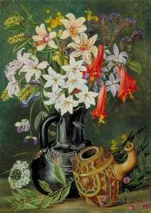 Marianne North - Chilian Lilies and Other Flowers in Black Jug with Ornamented Gourd for Mate