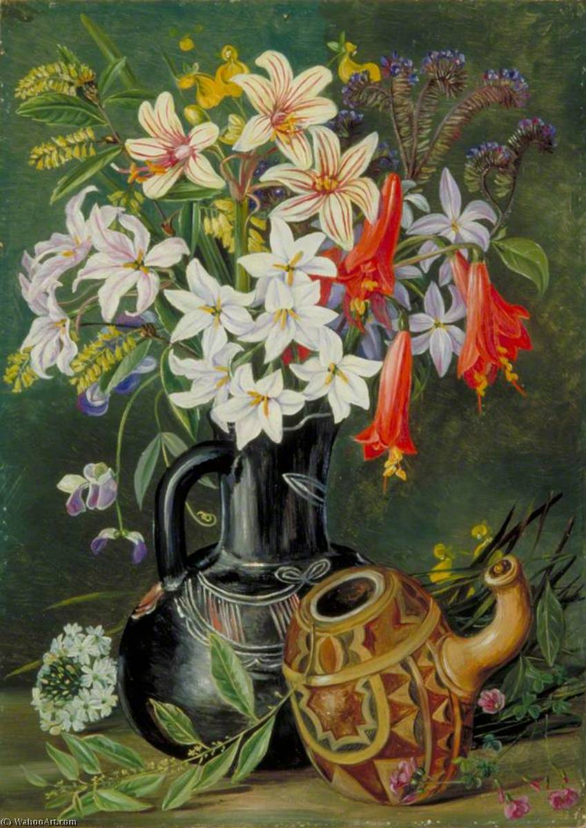 Chilian Lilies and Other Flowers in Black Jug with Ornamented Gourd for Mate, 1880 by Marianne North (1830-1890, United Kingdom) | Museum Quality Reproductions | WahooArt.com