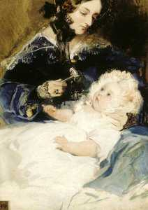 Edwin Henry Landseer - Lady Louisa Jane Russell (1812–1905), Duchess of Abercorn, with Her Daughter Lady Harriet Georgiana Louisa Hamilton (1834–1913), Later Countess of Lichfield