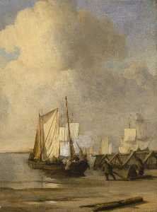 Willem Van De Velde The Elder - A Kaag Coming Ashore Near a Groyne with Ships and Vessels Under Sail Beyond