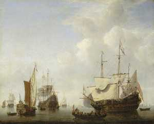 Willem Van De Velde The Elder - A Dutch Flagship Coming to Anchor with a States Yacht Before a Light Air