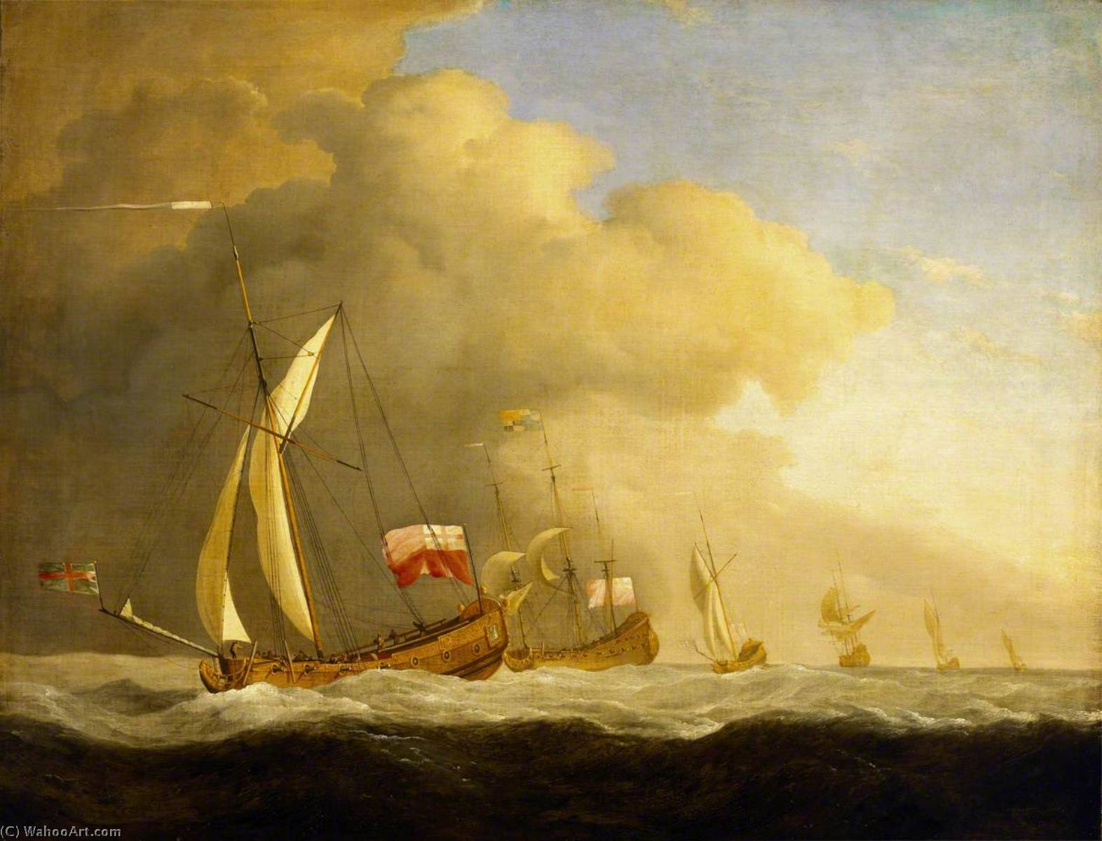 English Royal Yachts at Sea, in a Strong Wind in Company with a Ship Flying the Royal Standard, 1689 by Willem Van De Velde The Elder (1611-1693, Netherlands) | Oil Painting | WahooArt.com