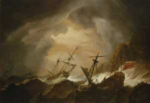 Willem Van De Velde The Elder - Two English Ships Wrecked in a Storm on a Rocky Coast
