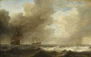 Willem Van De Velde The Elder - A Dutch Ship Lying To in a Strong Breeze
