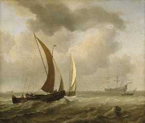 Willem Van De Velde The Elder - Two Kaags at Sea before a Fresh Breeze