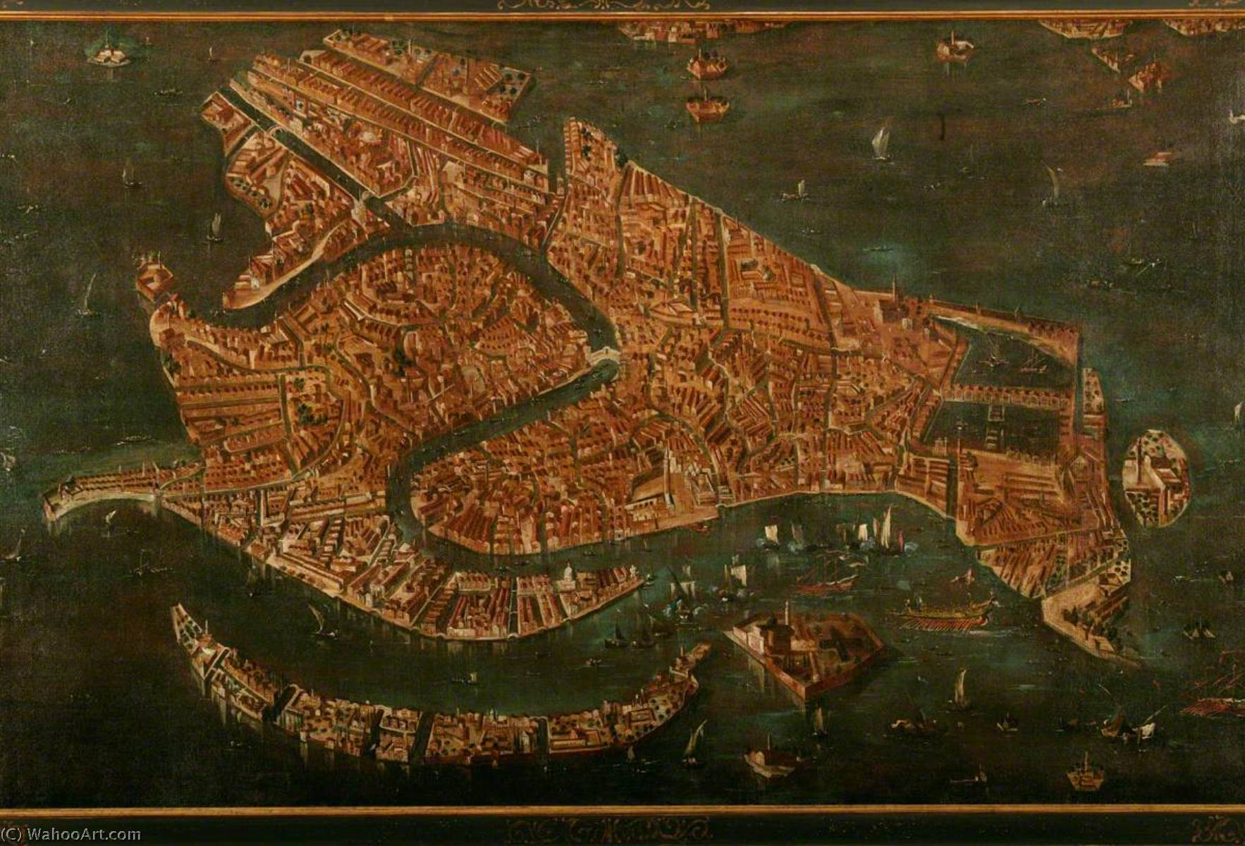 Order Famous Paintings Reproductions : Bird`s Eye View of Venice by Francesco Lazzaro Guardi (1712-1793, Italy) | WahooArt.com