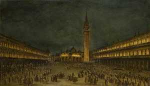 Francesco Lazzaro Guardi - A Night Procession in the Piazza San Marco