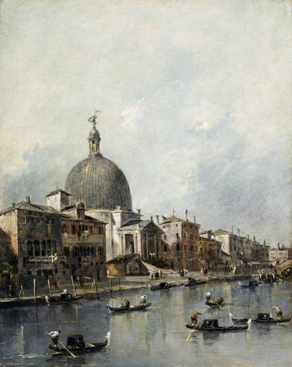 Venice, the Church of San Simeone Piccolo on the Grand Canal, Oil On Canvas by Francesco Lazzaro Guardi (1712-1793, Italy)