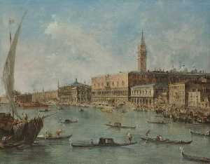 Francesco Lazzaro Guardi - Venice The Doge's Palace and the Molo from the Basin of San Marco