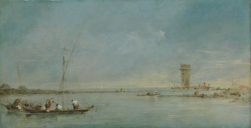 View of the Venetian Lagoon with the Tower of Malghera, Oil by Francesco Lazzaro Guardi (1712-1793, Italy)