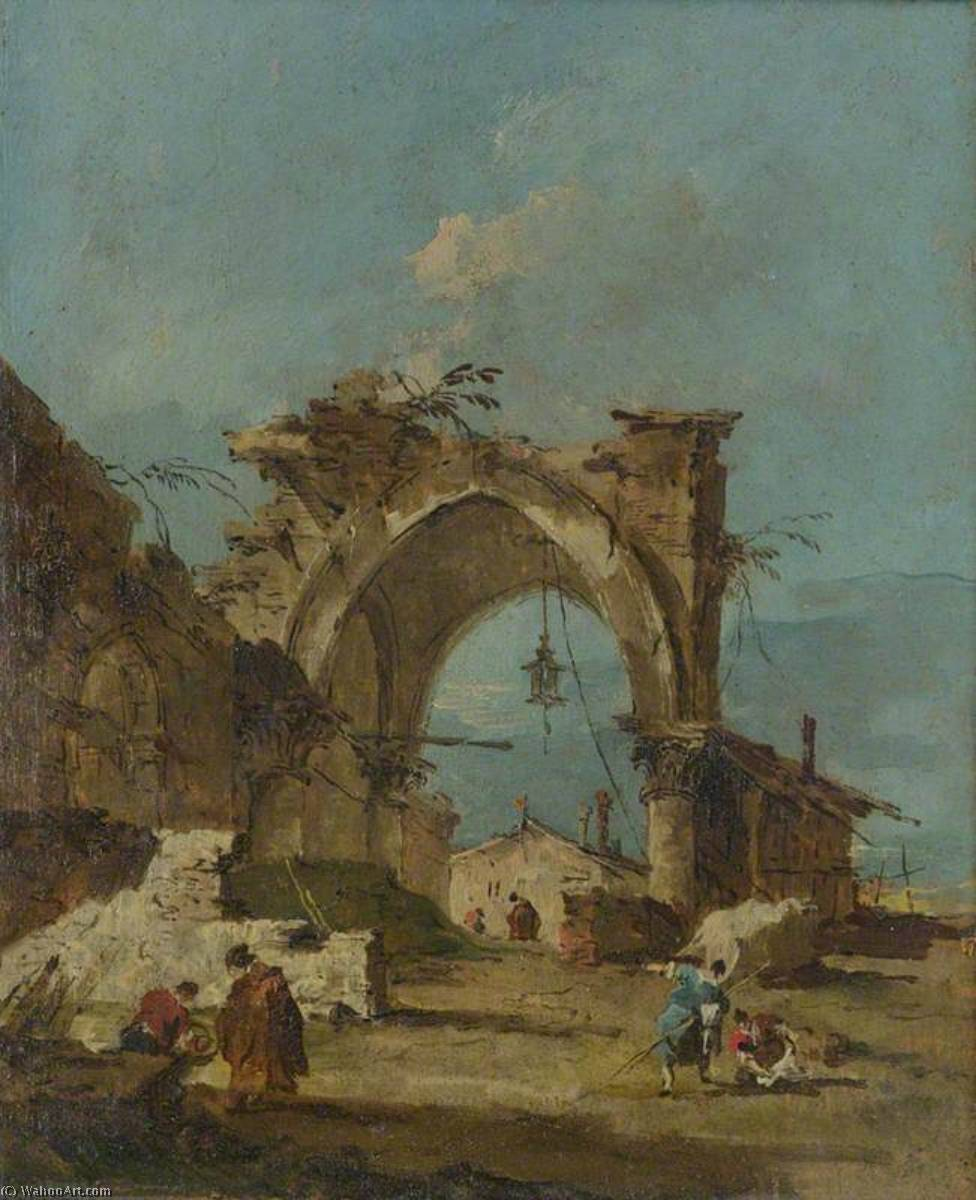 A Caprice with a Ruined Arch, Oil by Francesco Lazzaro Guardi (1712-1793, Italy)