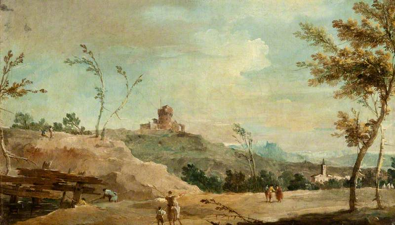 Hilly Landscape with a Ruined Tower, 1780 by Francesco Lazzaro Guardi (1712-1793, Italy) | Oil Painting | WahooArt.com