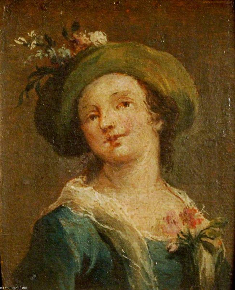 Two Paintings A Girl in a Hat in Profile and a Girl in a Hat Full Face (diptych, right panel), Oil On Panel by Francesco Lazzaro Guardi (1712-1793, Italy)