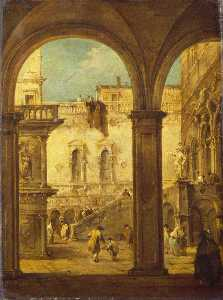 Francesco Lazzaro Guardi - Capriccio with the Courtyard of the Doge's Palace