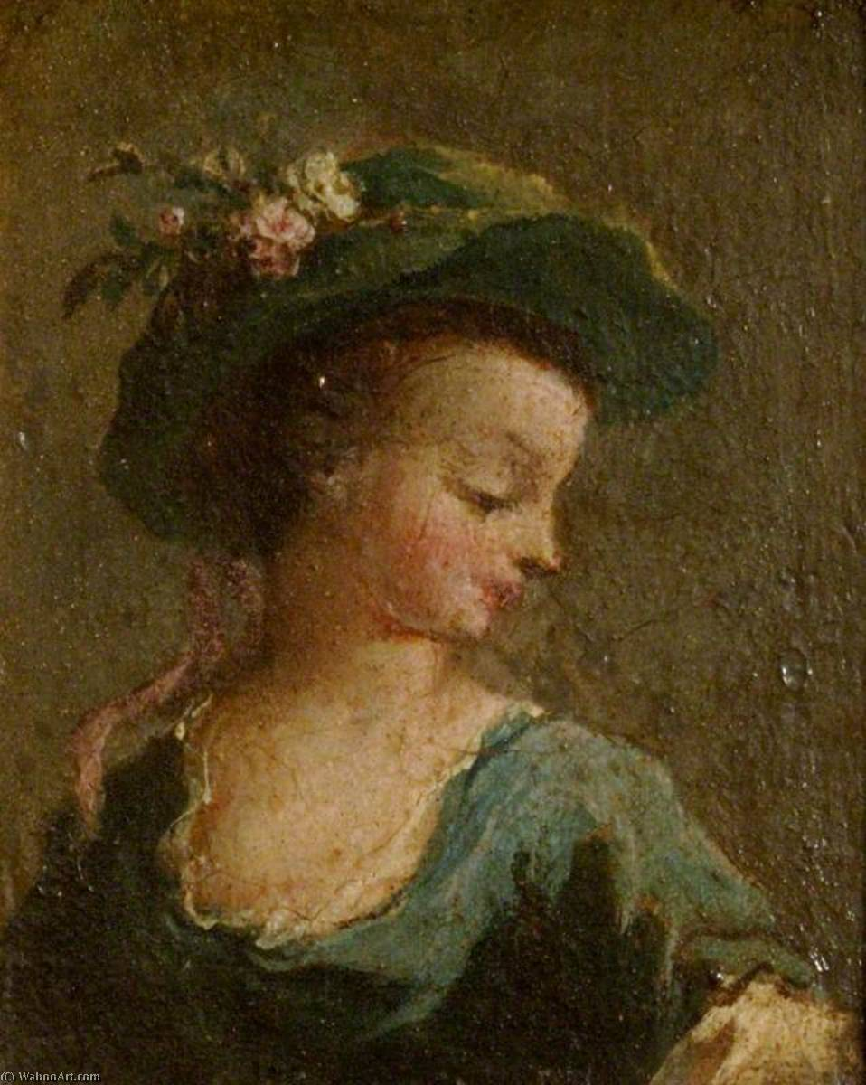 Two Paintings A Girl in a Hat in Profile and a Girl in a Hat Full Face (diptych, left panel), Oil On Panel by Francesco Lazzaro Guardi (1712-1793, Italy)