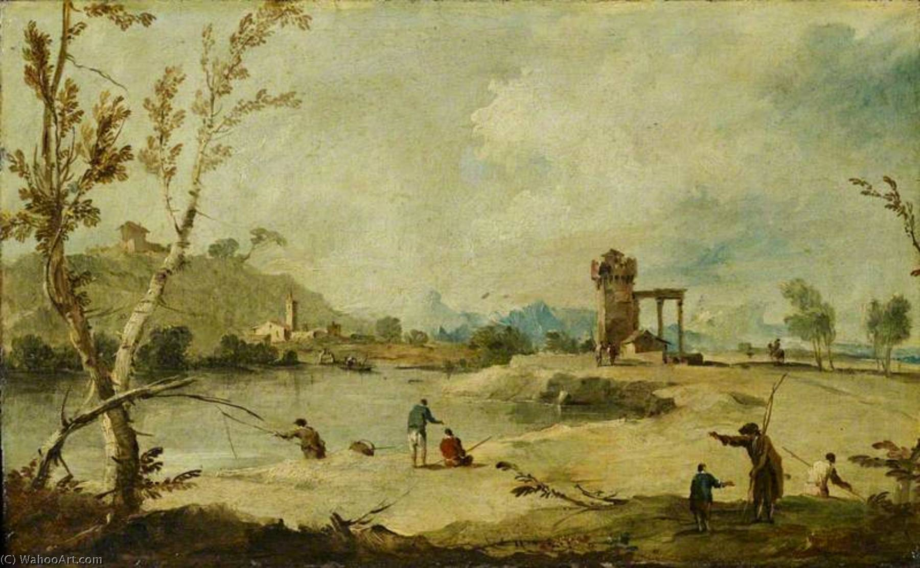 River Landscape with a Ruined Tower and a Distant Village, Oil On Canvas by Francesco Lazzaro Guardi (1712-1793, Italy)