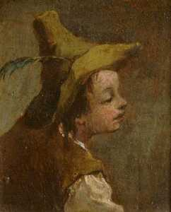 Francesco Lazzaro Guardi - Two Paintings A Head of a Boy and a Head of a Girl (diptych, left panel)