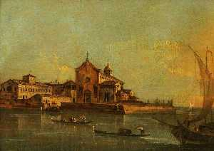 Francesco Lazzaro Guardi - View of the Island of Sant'Elena, Venice