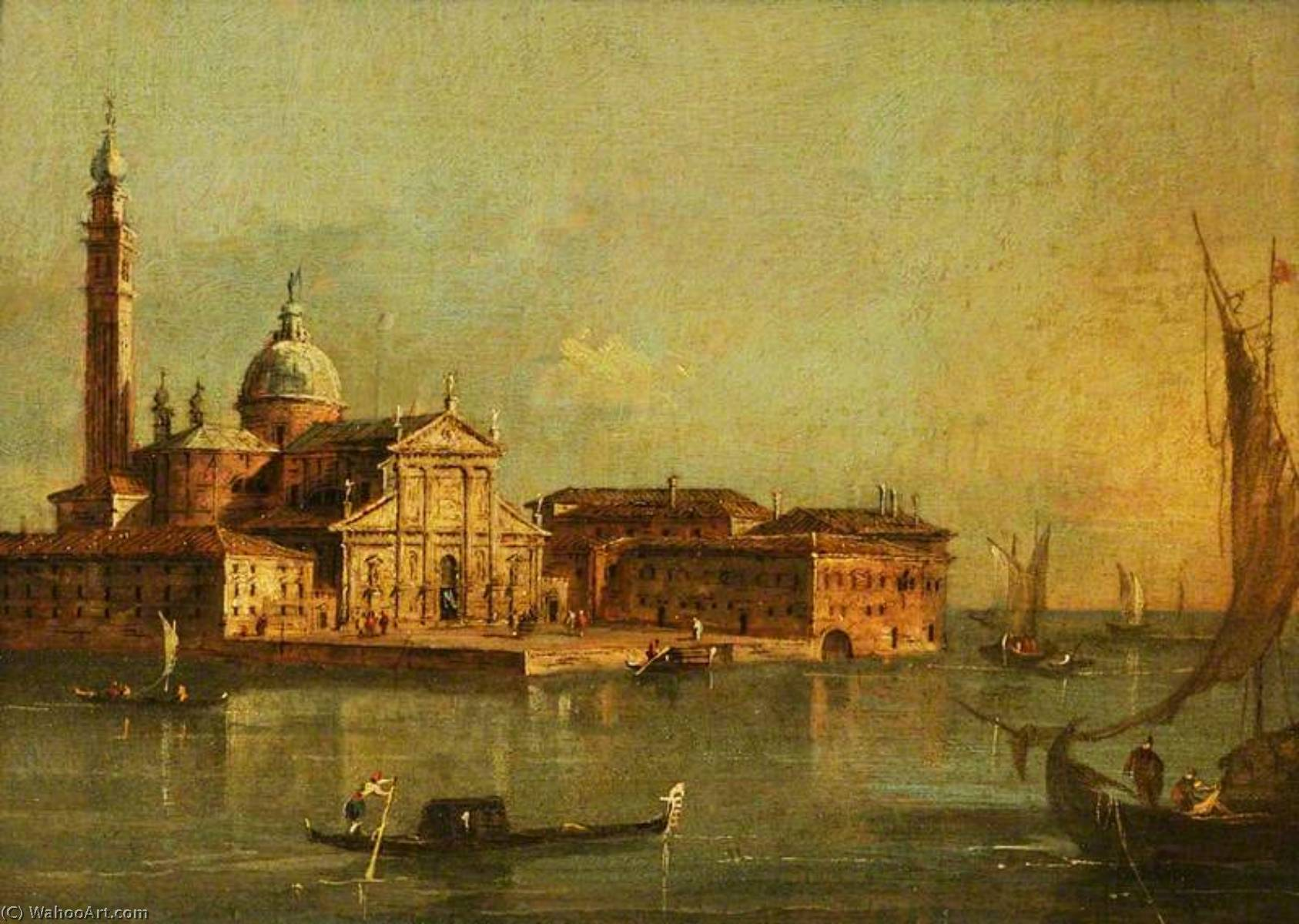 View of the Island of San Giorgio Maggiore, Venice, 1780 by Francesco Lazzaro Guardi (1712-1793, Italy) | Museum Quality Reproductions | WahooArt.com