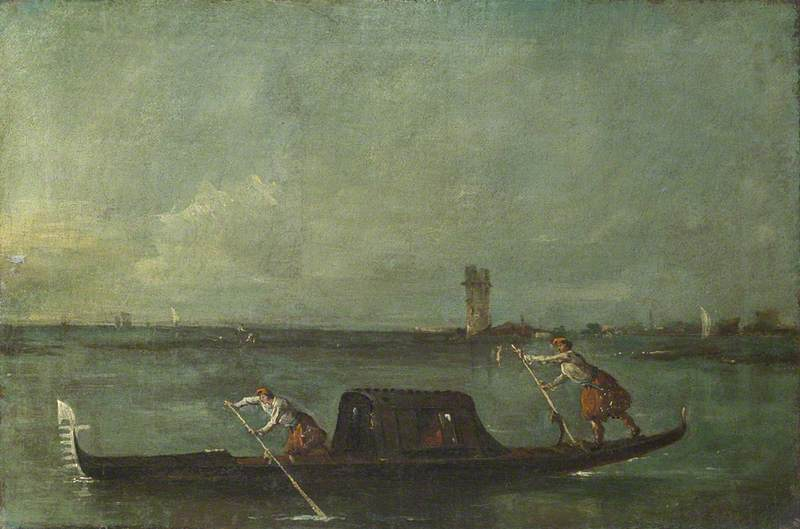 A Gondola on the Lagoon near Mestre, Oil On Canvas by Francesco Lazzaro Guardi (1712-1793, Italy)