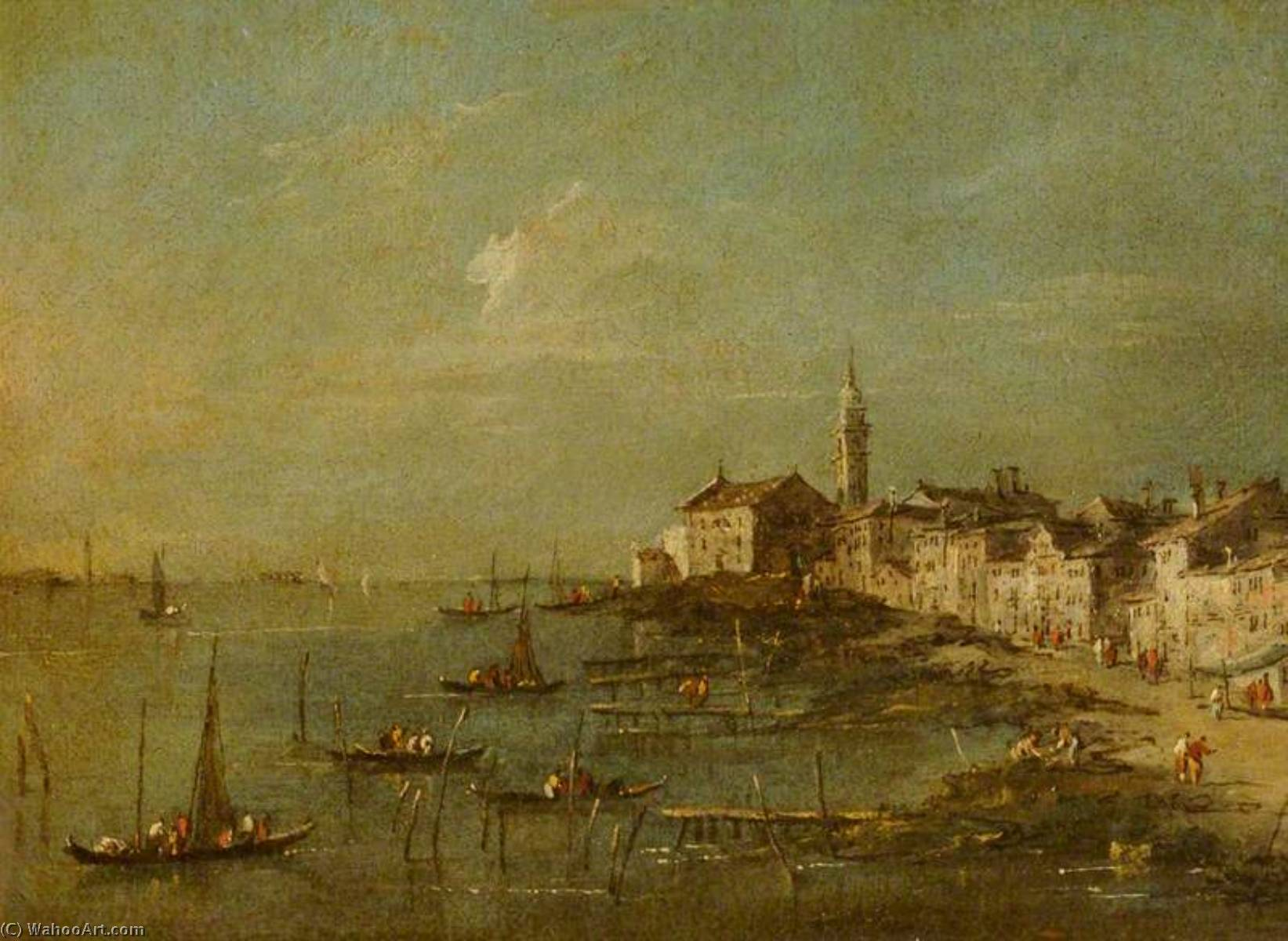 View of the Giudecca and the Church of Santa Marta, Venice, 1780 by Francesco Lazzaro Guardi (1712-1793, Italy) | Oil Painting | WahooArt.com
