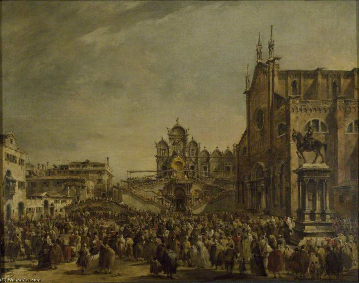 Pope Pius VI blessing the Crowd at Campo SS Giovanni e Paolo, Venice, Oil On Canvas by Francesco Lazzaro Guardi (1712-1793, Italy)