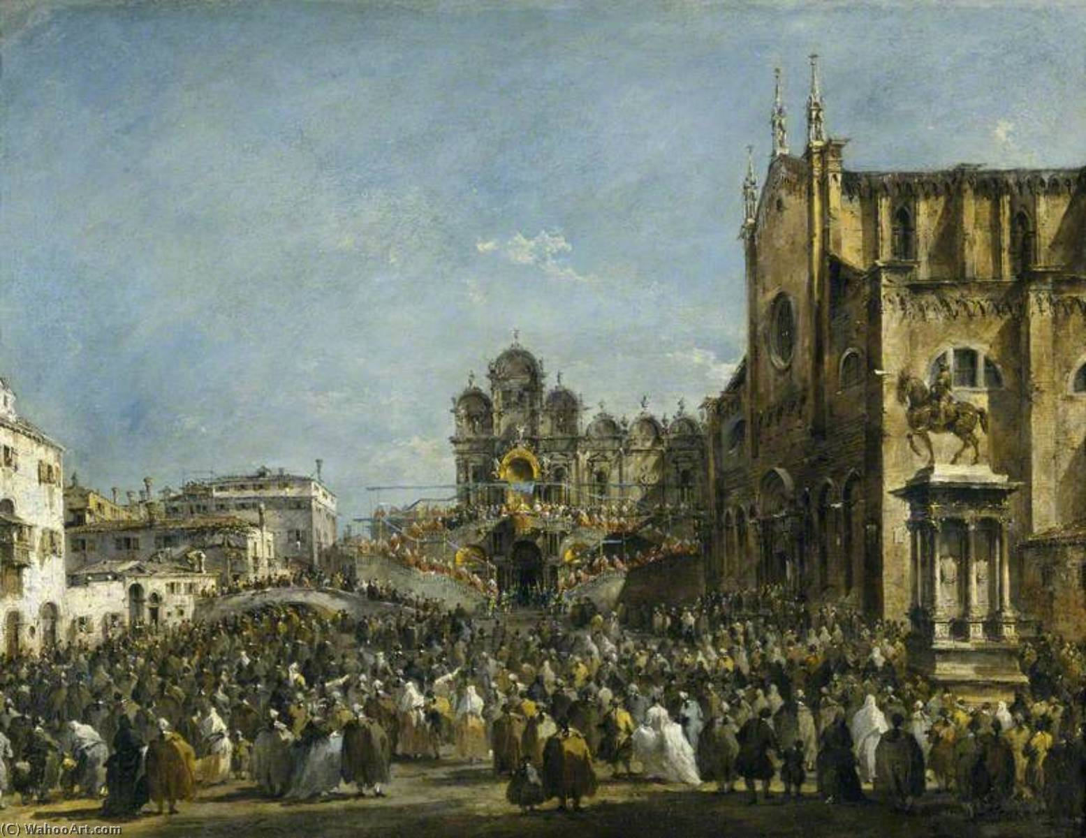 Pope Pius VI Blessing the People of Venice in the Campo San Zanipolo in 1782, Oil On Canvas by Francesco Lazzaro Guardi (1712-1793, Italy)