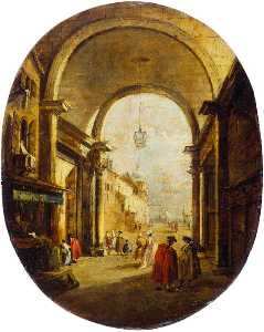 Francesco Lazzaro Guardi - Capriccio with the Archway of the Torre dell-Orologio