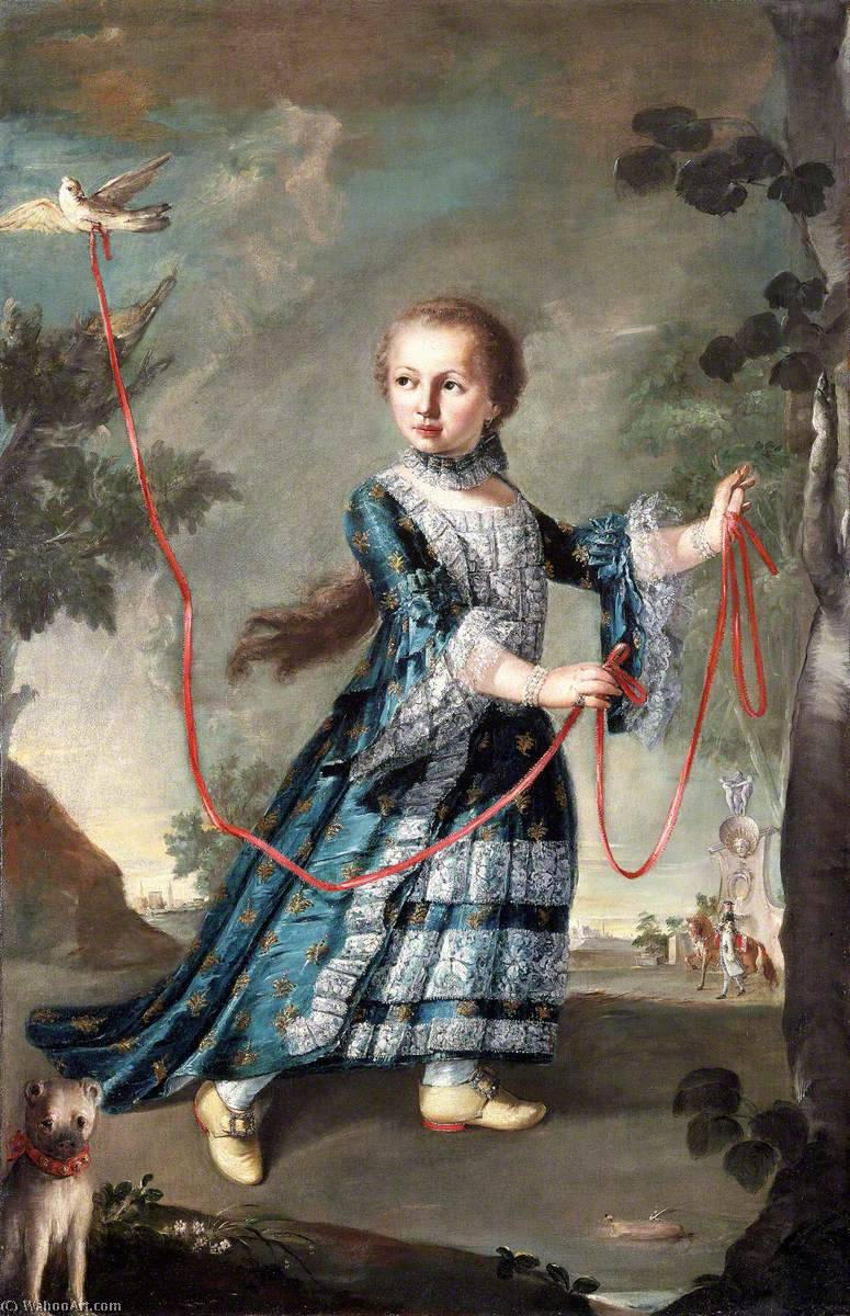 A Young Girl of the Gradenigo Family with a Dove, Oil On Canvas by Francesco Lazzaro Guardi (1712-1793, Italy)