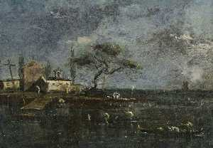 Francesco Lazzaro Guardi - The Island of Anconetta, Venice