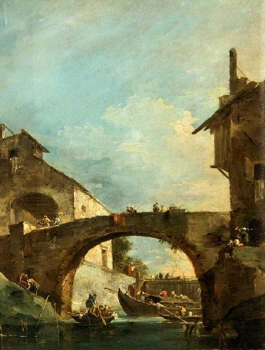 High Bridge over a Canal, Oil On Canvas by Francesco Lazzaro Guardi (1712-1793, Italy)