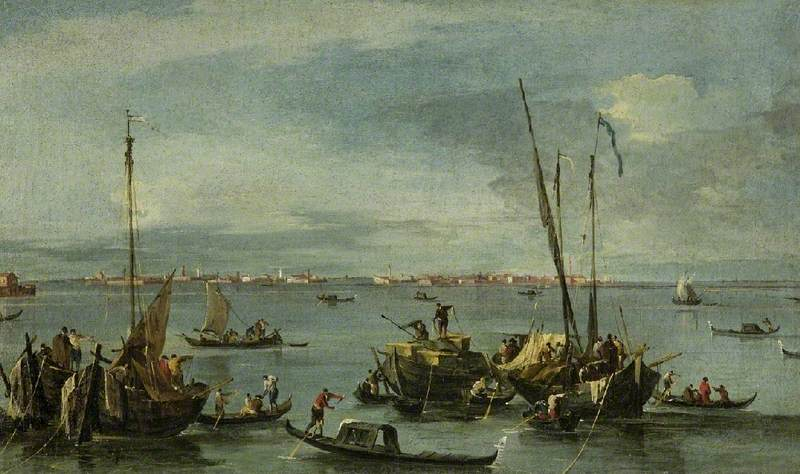 View towards Murano from the Fondamente Nuove, Venice, Oil On Canvas by Francesco Lazzaro Guardi (1712-1793, Italy)