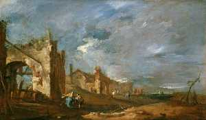 Francesco Lazzaro Guardi - Ruined Buildings and Figures at the Edge of the Lagoon