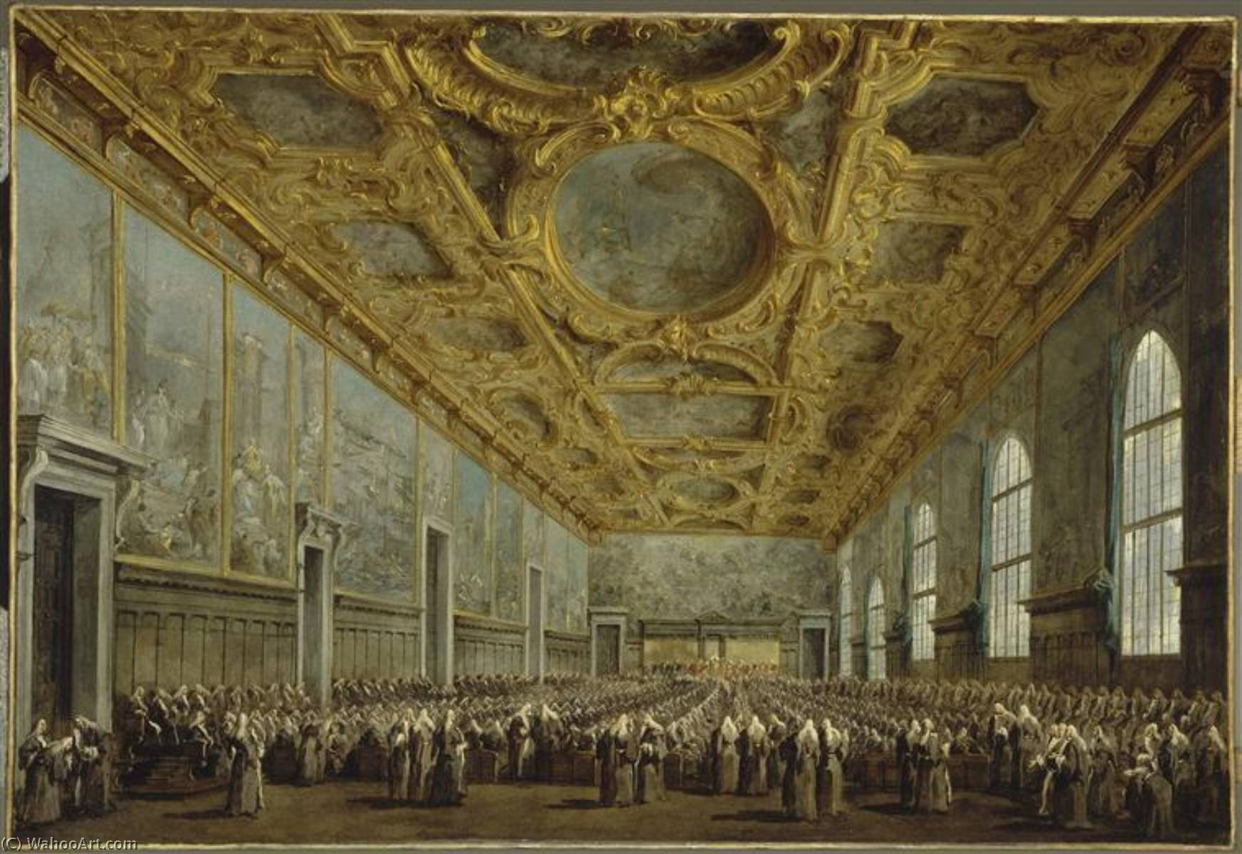 Le Doge remercie le conseil majeur by Francesco Lazzaro Guardi (1712-1793, Italy) | Museum Quality Reproductions | WahooArt.com