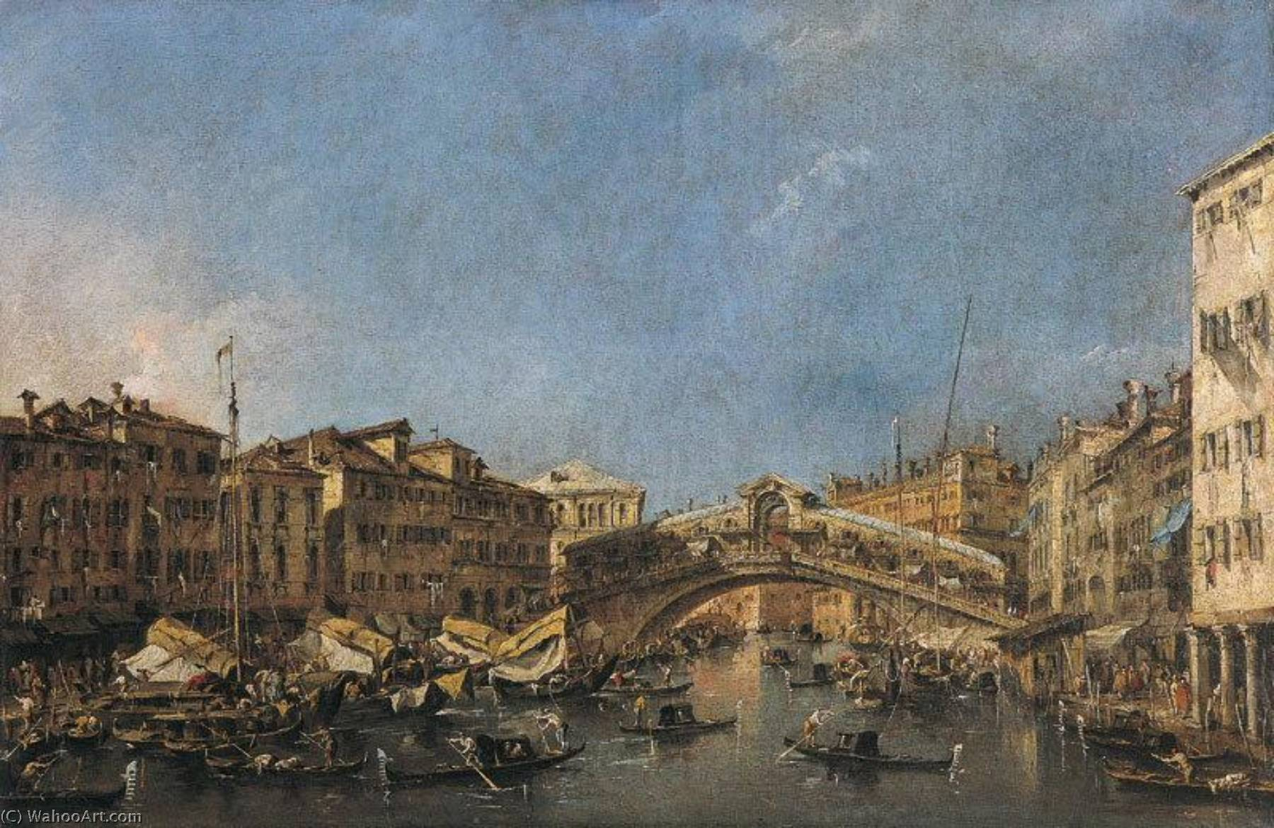 Le Pont du Rialto à Venise by Francesco Lazzaro Guardi (1712-1793, Italy) | Oil Painting | WahooArt.com