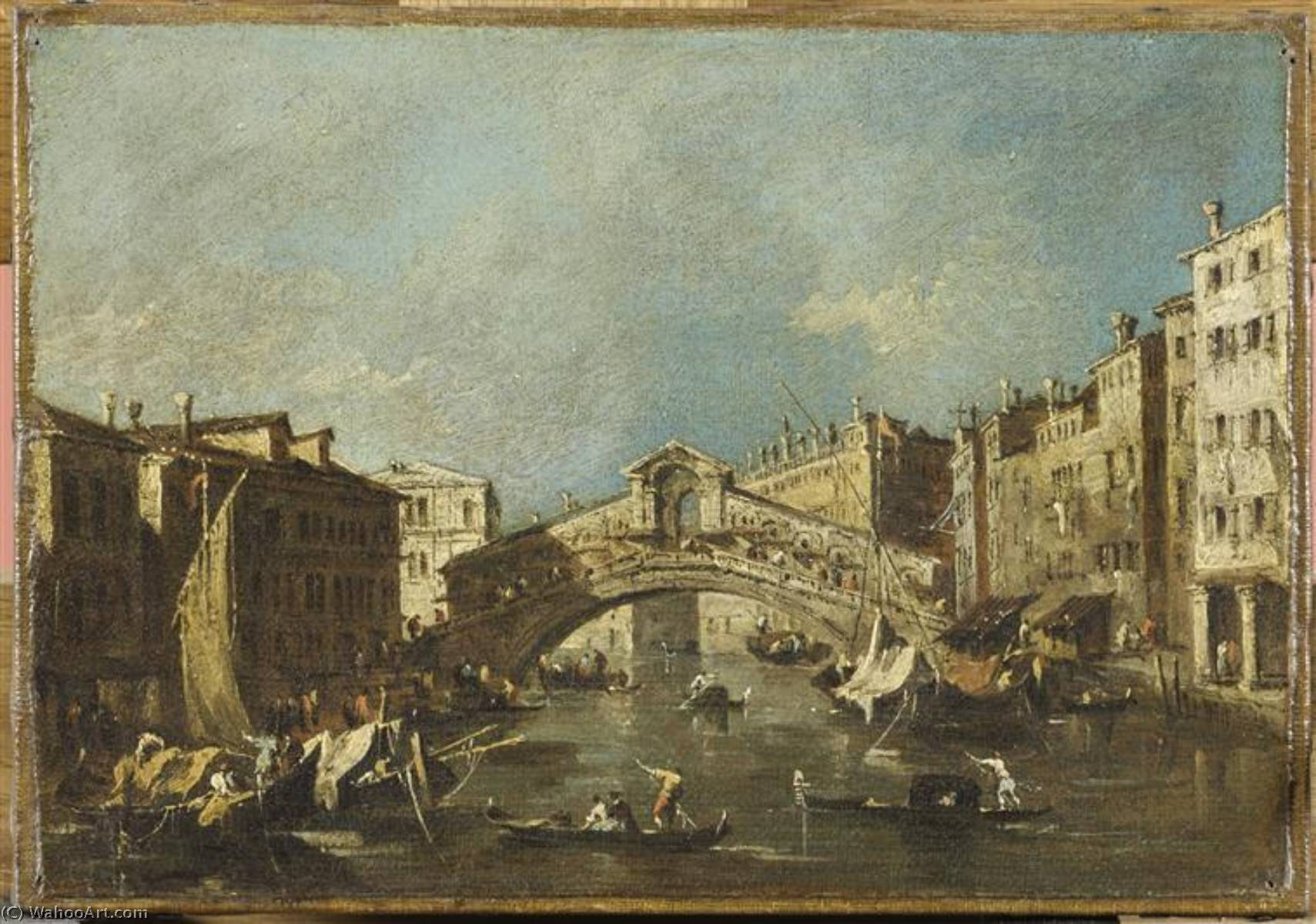LE DEPART DU BUCENTAURE VERS LE LIDO DE VENISE, LE JOUR DE L'ASCENSION, Oil by Francesco Lazzaro Guardi (1712-1793, Italy)