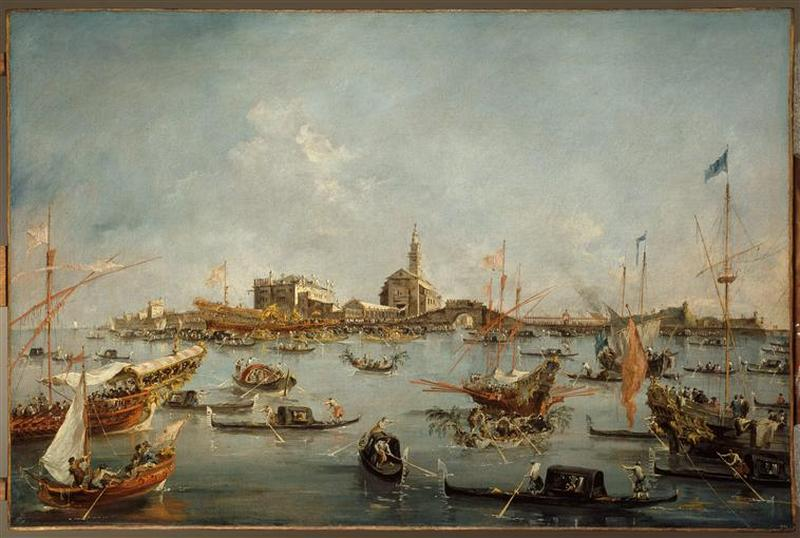 LE DOGE SUR LE BUCENTAURE, A SAN NICCOLO DI LIDO A VENISE LE JOUR DE L`ASCENSION by Francesco Lazzaro Guardi (1712-1793, Italy) | Museum Quality Reproductions | WahooArt.com