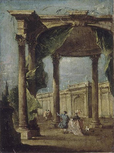 PROMENADE DANS UN DECOR D'ARCHITECTURE, Oil by Francesco Lazzaro Guardi (1712-1793, Italy)