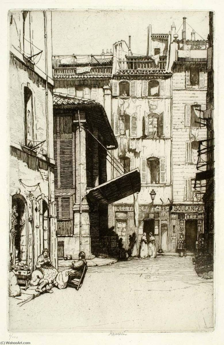 Vieux Marche, Marseille, Etching by Herman Armour Webster