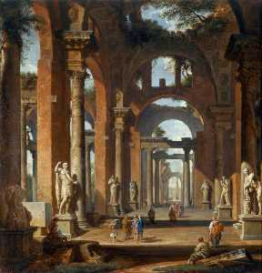 Giovanni Paolo Pannini - Statues in a Ruined Arcade