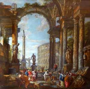 Giovanni Paolo Pannini - Roman Ruins with Figures