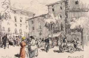 Herman Armour Webster - Sarteano, Market Day
