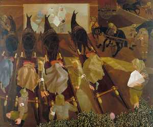 Stanley Spencer - Travoys Arriving with Wounded at a Dressing Station at Smol, Macedonia, September 1916