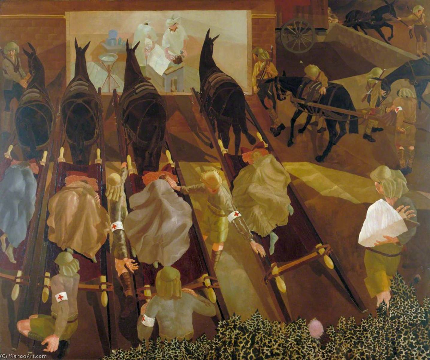 Travoys Arriving with Wounded at a Dressing Station at Smol, Macedonia, September 1916, 1919 by Stanley Spencer (1891-1959, United Kingdom) |  | WahooArt.com